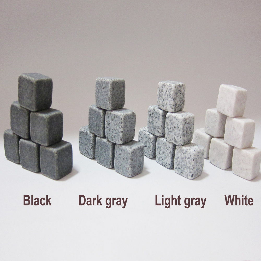 6 COLORS WHISKEY STONES SET OF 9pcs 100SETS LOT WHOLESALE DRINK COOLING ICE MELTS BEER ICE