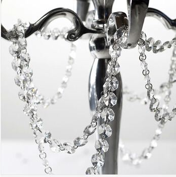 Crystal Garland 5meters Chandelier Crystals Parts Crystal Lamp Parts 14mm Octagon Crystal Beads Glass Garland Curtains Of Beads