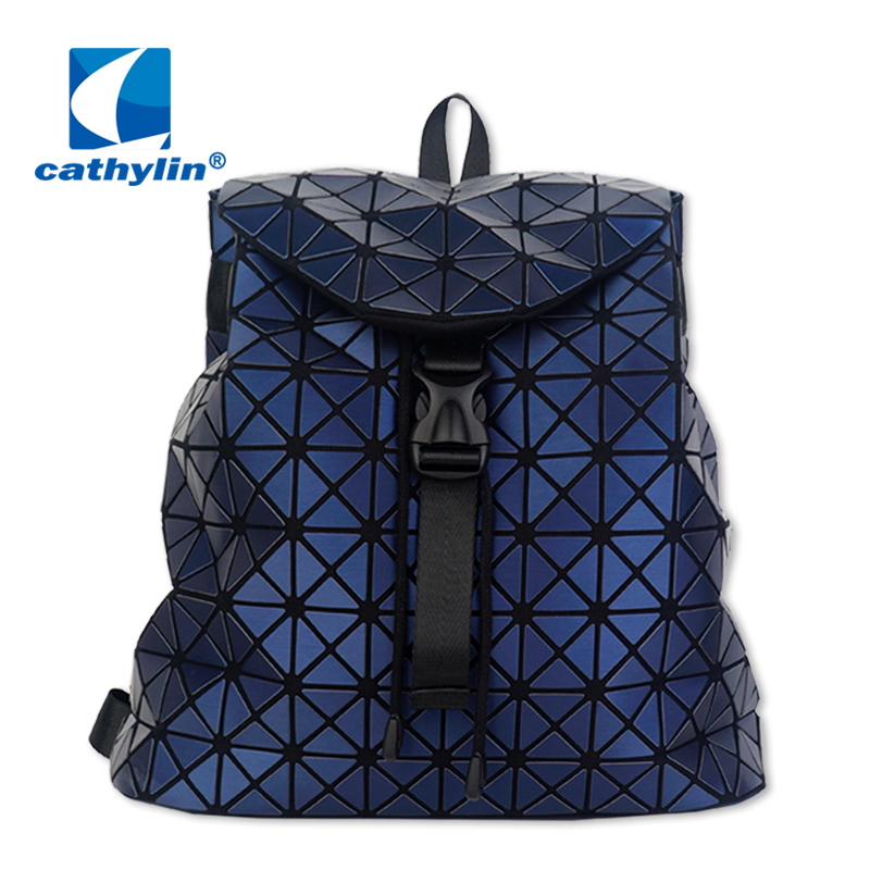 Women Backpack Geometric Package Sequins Folding Bags Female Backpacks For Teenage Girls Drawstring Holographic Backpack