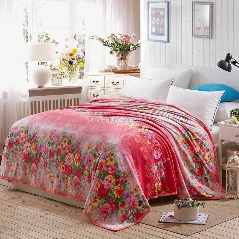 Aliexpress Buy Red Flora Soft Warm Microplush Faux Mink Interesting King Size Blankets And Throws