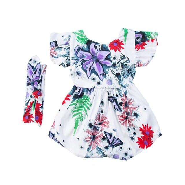 3130a434824 Wholesale 10 Pcs Lot Botique Floral Baby Romper Babygirls Clothes Summer  Girls Ruffle Smash Cake Dresses Sunsuit Onesie HairBand