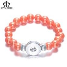 RoyalBeier Multi Color Simulated Pearl 18mm snap button charm Beaded bracelet Snap Bracelet 20mm