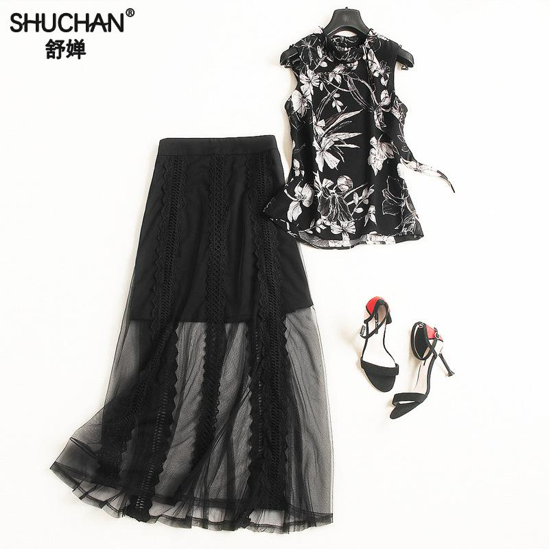 Shuchan Fashion Designer 2 Piece Set Women Conjunto Feminino Print Sleeveless Top+ Skirts With Lace Ankle-length Suit Women 4045