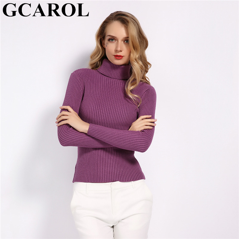 GCAROL New Fall Winter Women Turtleneck Stripes Sweater Stretch OL Work Jumper Practical To Keep Warm Basic Render Knit Pullover