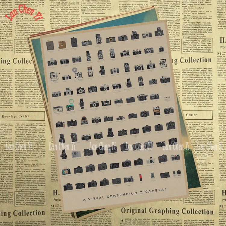Various camera Matte Kraft Paper Poster Office Gift Room Dining Home Decor wall sticker  ...
