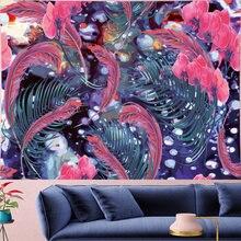 Психоделический гобелен с орхидеями и перьями мандалы винтажный