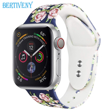 Printed Silicone Strap for Apple Watch 38mm/40mm 42mm/44mm Sport band for iwatch Smart Watch Wristband(China)