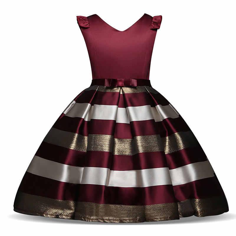 Платье в полоску для маленьких девочек; вечерние платья для девочек на свадьбу; детское рождественское платье принцессы; костюм; детская одежда для девочек