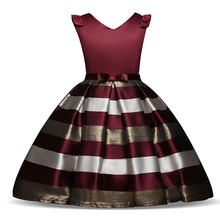 6120be58c75 Bébé filles robe rayée pour les filles robes de fête de mariage formelles  enfants princesse noël habiller costume enfants filles.