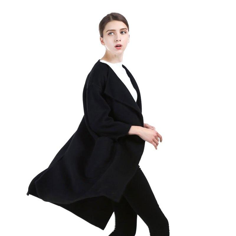 Vintage Qadın Qara Uzun Cashmere Palto 2017 Yeni Yun Palto Qadın - Qadın geyimi - Fotoqrafiya 6