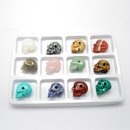 Perles de pierre, style mixte, crâne, pour halloween, pierre mélangée, 24x19x28mm, trou: 4mm; 12 pièces/boîte