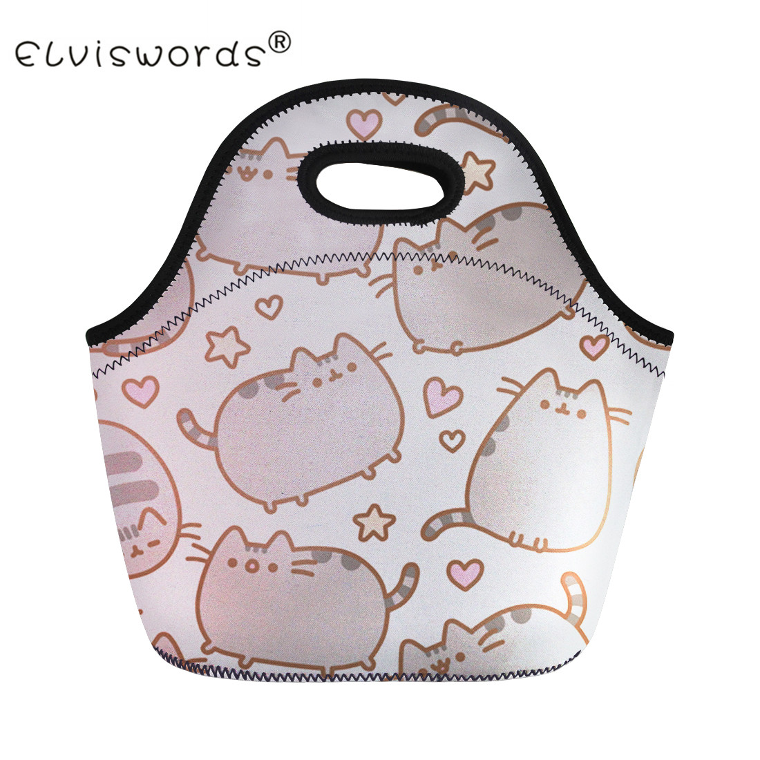ELVISWORDS Cute Pusheen Cat Print Women Lunch Bags for Kids School Thermal Insulate Food Carry Lunchbags Cartoon Picnic Totes