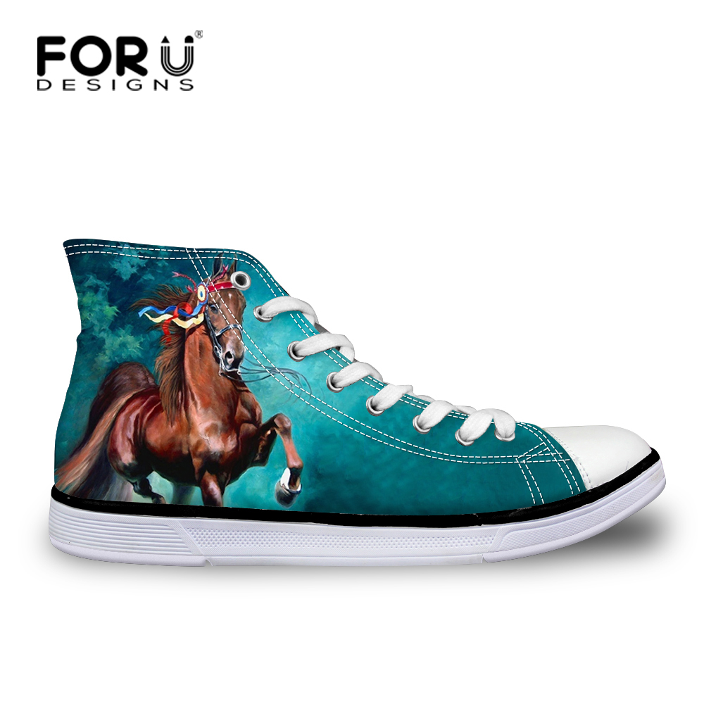 FORUDESIGNS Men Autumn Casual Canvas Shoes 3D Cool Horse Pattern High - Men's Shoes