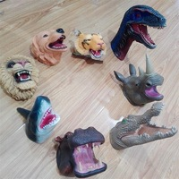Hand Puppet Toy Soft Glue Dinosaur Tyrannosaurus Rex Crocodile Shark Velociraptor Tiger Animals Handdoll Toy