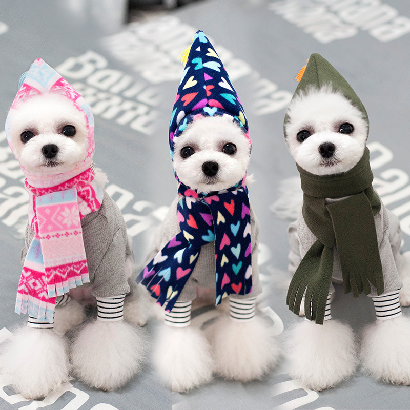 Luxury Pink Knitted Pet Dog Hat With Scarf Set Winter Warm Puppy Little  Small Medium Cat Neck Scarf For Girl Boy Accessories Pug b379bff72fc