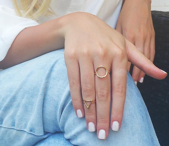 Rings Jewelry Rose-Gold Karma Gifts Geometric Fashion Round And 2pcs Simple Women