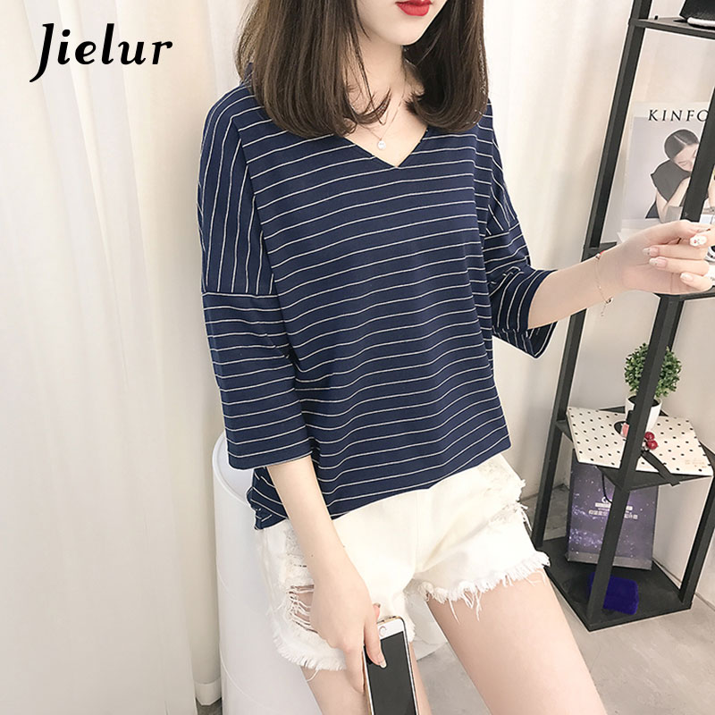 Jielur Fashion Navy Blue Gray Striped Loose V-neck T-shirts Female M-XXL Korean Short Sleeve Women Tops Cotton Basic Tee Shirt plain gray v neck t shirts