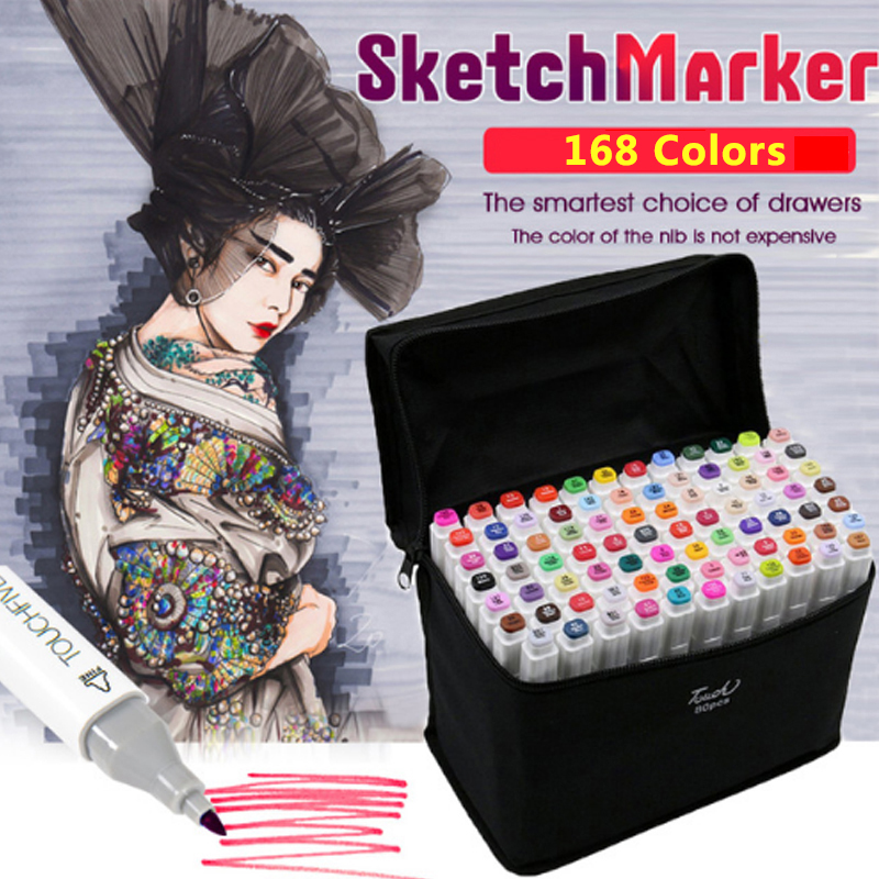 TOUCHNEW 168 Copic Sketch Marker Set Art Marker Alcohol Based Dual Head Brush Pen For Drawing Manga Art Supplies цена