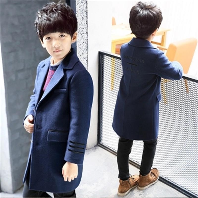 Korean Boys Wool Winter Coat England Style Kids Thick Outerwear Fashion Kids Woolen Long Jackets Children Warm Coats 001 стоимость