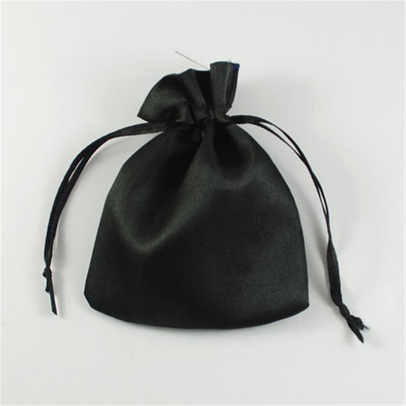 200pcs Black Cloth Pouches Rectangle Satin Jewelry Bag Wedding Gift Bags 9x7cm 10x8cm