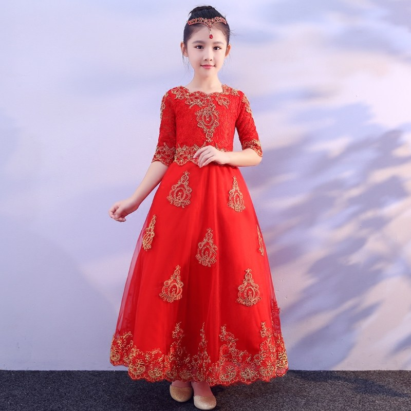 Embroidery Vintage Red Flower Girl Dresses for Wedding Half Sleeve Royal Princess Dress Ball Gown Lace Kids Party Gowns Birthday bheema venetian ball party women s lace flower mask masquerade halloween red