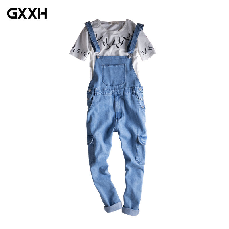 2018 Men s Slim Light Blue Denim Overalls Casual Korean Fashion Jeans Multi Pocket Pants Women