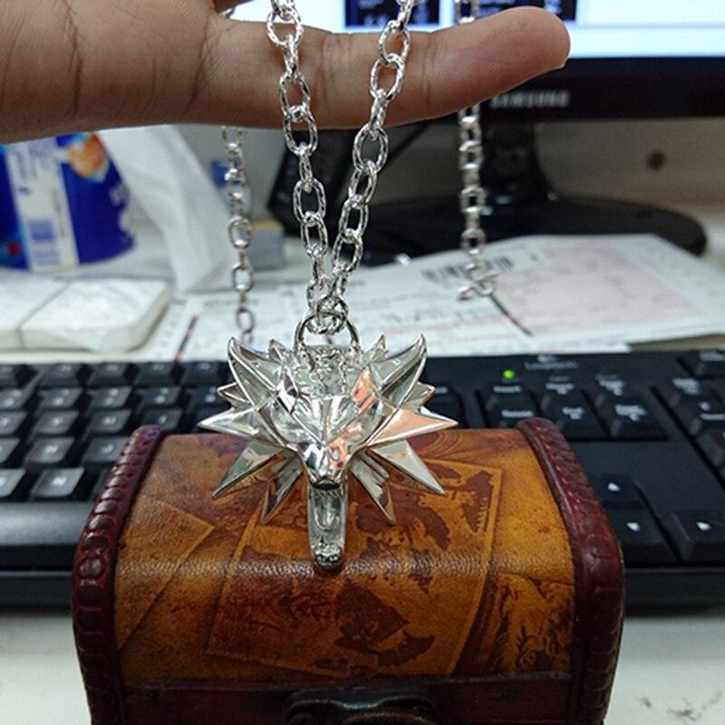 Personnaliser solide 925 argent Witcher collier The Witcher 3 III sauvage chasse loup Geralt de Rivias collier jeu pendentif pour hommes cadeau