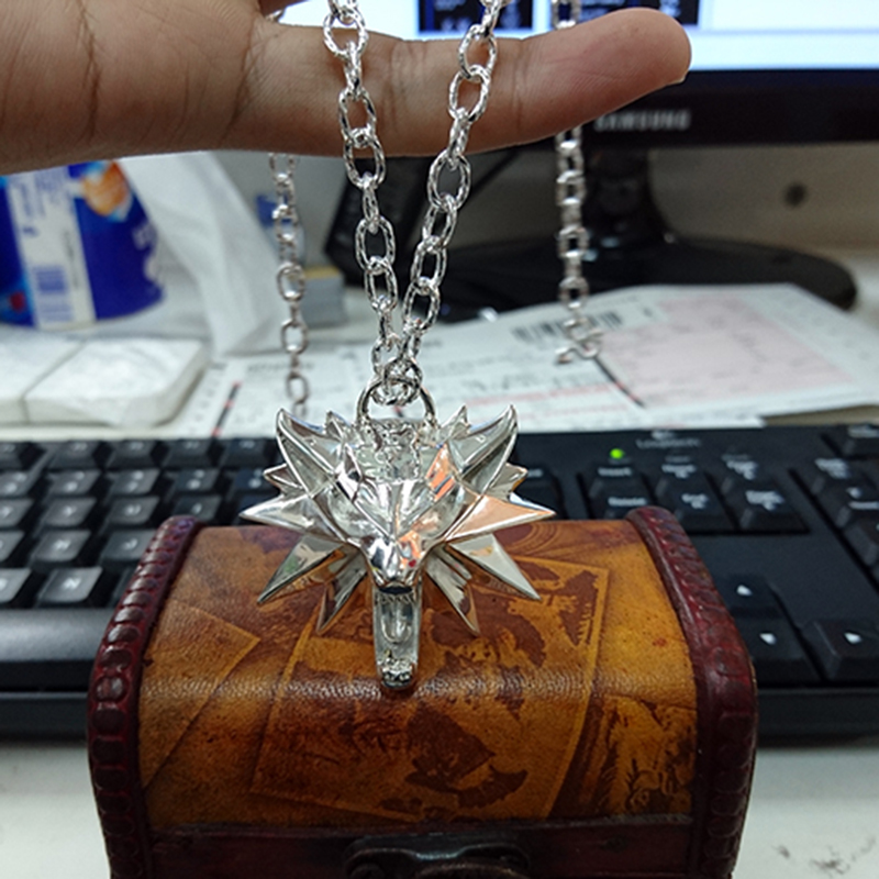 Solid 925 Silver Necklace The Witcher 3 III Wild Hunt Wolf Medallion Geralt of Rivias Necklace Pendant for Men