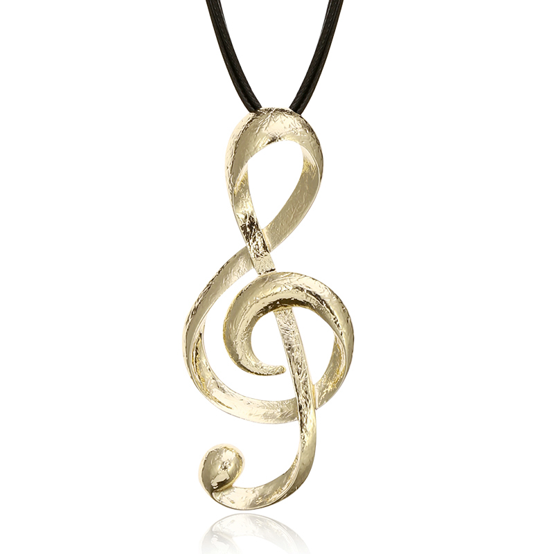 Leather Chain Color Music Symbol Treble Clef Music Jewelry-