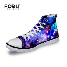 FORUDESIGNS Women's Casual Shoes, 3D Universe Space Printed Canvas Shoes for College Student Girls, High Top Vulcanization Shoe
