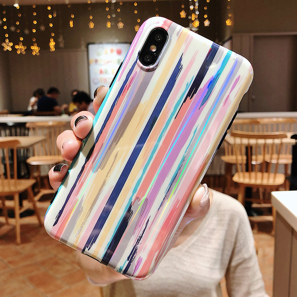KIPX1037_1_Aurora Laser Crayon Rainbow Case for iPhone 7 8 Glossy Soft Silicone Case For iPhone X XS 6S 7P 8 Plus Phone Cover