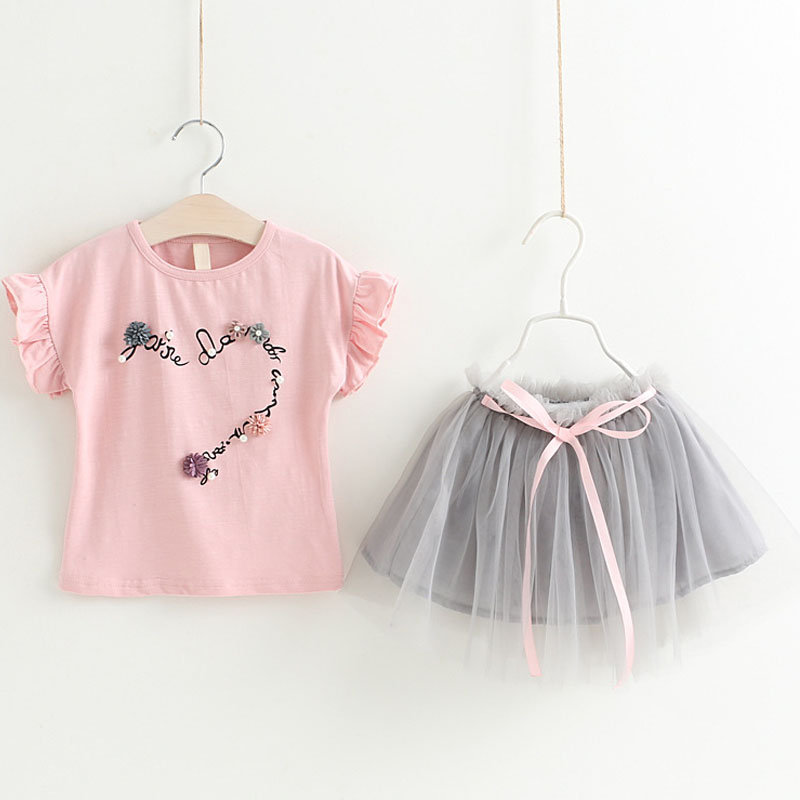 Brand 2018 New Summer Fashion Style Girls Clothing Sets T-shirt + Skirts 2Pcs Suit For Children Clothing