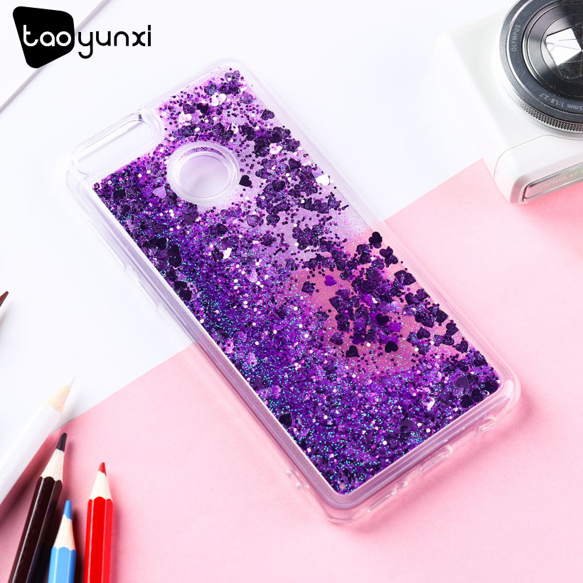 TAOYUNXI Glitter Case For Honor 7X Case Silicon Cover For Huawei Honor7X Case Dynamic Liquid For Huawei Mate SE Coque Fundas Bag