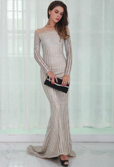 Off the Shoulder Glitter Dress Silver