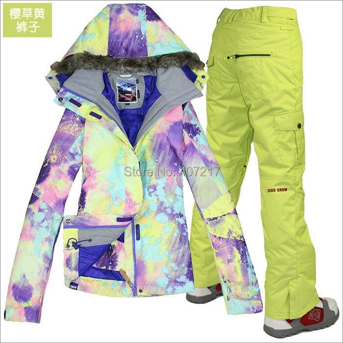 2014 chaud femmes ski costume dames snowboard costume violet et jaune veste + jaune pantalon neige porter skiwear imperméable 10 K XS-L