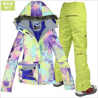 2014 Hot Womens Ski Suit Ladies Snowboarding Suit Violet And Yellow Jacket Yellow Pants Snow Wear