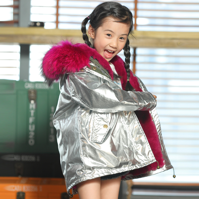 Boys and girls rabbit fur lining jacket children big fox fur collar coat winter intensive warm jacket children fur collar coat rounded collar shimmer jacket and skirt set