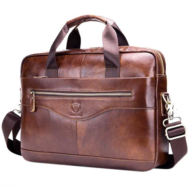 BULLCAPTAIN Genuine Leather Men'S Briefcase Vintage Business Computer Bag Fashion Messenger Bags Man Shoulder Bag Postman Male
