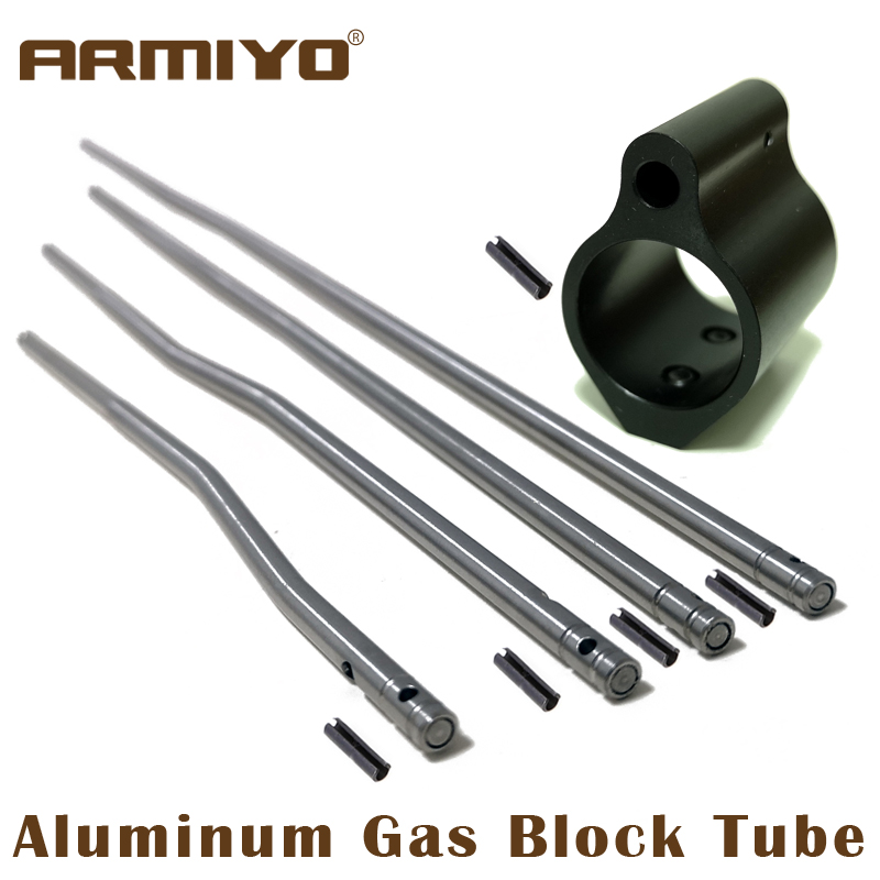 Armiyo Aluminum Rifle Tactical Gas Block Tube Low Profile Set Screw Standard Barrel Roll Pin 0.75 Inch Shooting Accessories M4