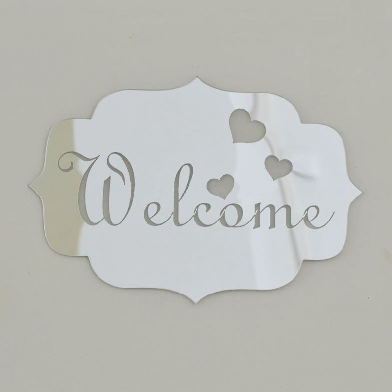 2017 direct selling 3d acrylic mirrored door plate mirror wall stickers home decor welcome - Home decor direct sales companies concept ...