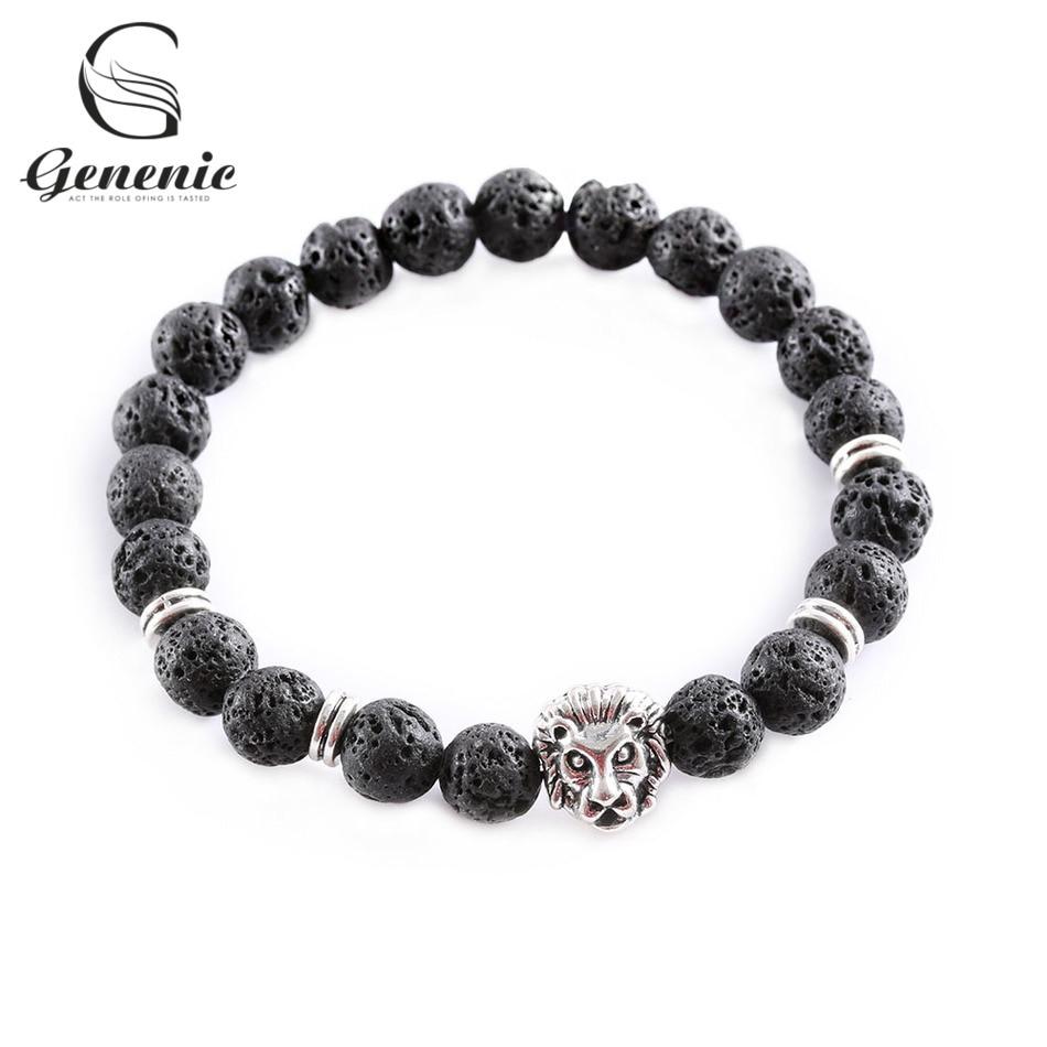Men Fashion Black Lava Stone Gold/&Silver Lion Beaded Cuff Charm Bangle Bracelet
