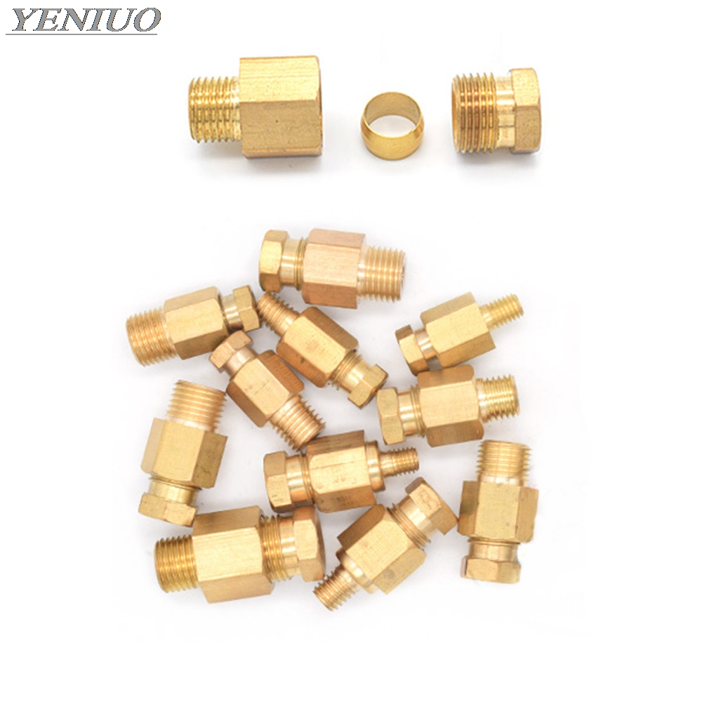 Compression Ferrule Tube Compression Fitting 4 6 8mm OD Tube Connector Machine Tool Lubrication Brass Oil Pipe Fitting Adapter