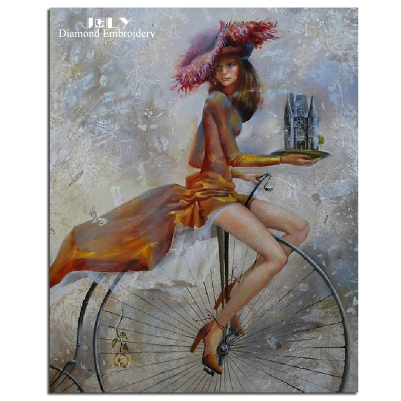 Вышивка девочка на велосипеде