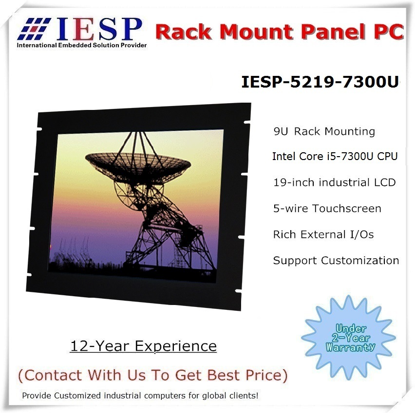 Rack Mount Panel PC, 19 Inch LCD, Core I5-7300U CPU, 8GB RAM, 500GB HDD, 4*RS232, Fanless Industrial Computer, OEM/ODM