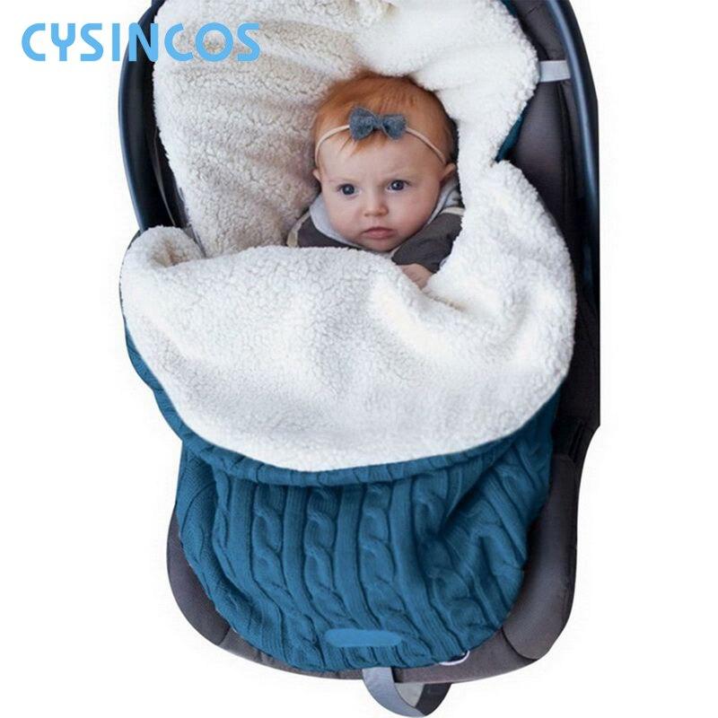 Baby Sleeping Bag Newborn Winter Autumn Warm Sleep Bag Infant Stroller Cotton Knitted Envelopes Blanket Unisex Fleece Sleep Sack