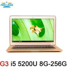 13.3 дюймов core I5 5200U 5Gen 8 ГБ ОЗУ 256 ГБ SSD алюминия ультрабук ноутбук аккумулятор USB 3.0