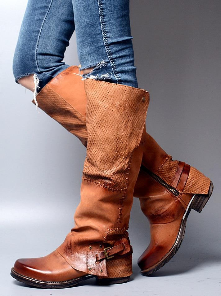 купить Low Heels Women Winter Boots Cowboy Spring Fall Knee High Boots Chunky Heels Genuine Leather Casual Riding Booties по цене 10340.96 рублей