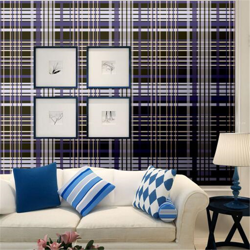 Vintage Wallpapers Roll Custom Murals Black line Wall Papers Home Decor Blue lattice Wall Paper theme cafe Living Room Wallpaper подсвечники rich line home decor подсвечник