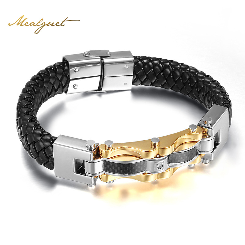 Meaeguet Fashion Punk Leather Men Bracels