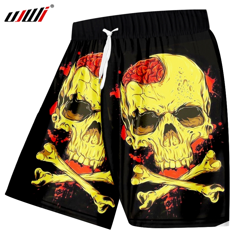 UJWI Summer Cool Quick Dry Fitness Boxer Trousers New Fashion Men's Cool Print Yellow Skull Head 3d Casual Shorts Big Size 5XL